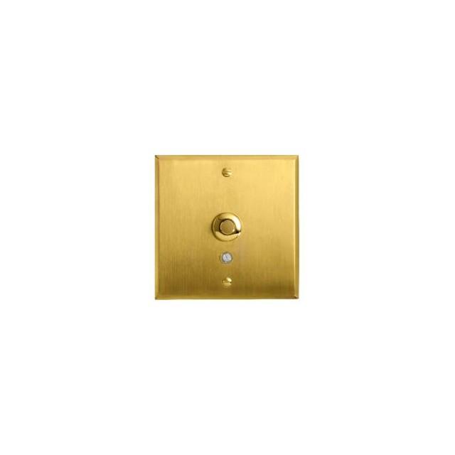 Poussoir lumineux bouton rond - 2A - Or satin