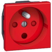 Prise Programme Mosaic - 2P+T droite à détrompage - à vis - 2 modules  - Rouge