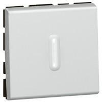 Poussoir inverseur Programme Mosaic - 2 modules - à voyant à LED - 6A - aluminium