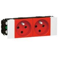 Prise pour goulotte clippage direct Programme Mosaic - 2x2 P+T - 4 modules - Rouge