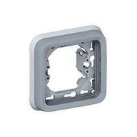 Support plaque pour encastré Programme Plexo composable - 1 poste - Gris