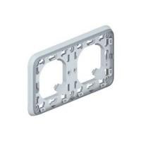 Support plaque pour encastré Programme Plexo composable - 2 postes horizontaux - Gris