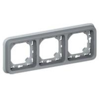 Support plaque pour encastré Programme Plexo composable - 3 postes horizontaux - Gris