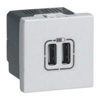 ALIMENTATION USB 230 V / 5 V - 2 PORTS - 2 MODULES - ALU